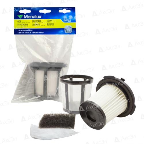 Набор фильтров для пылесоса ELECTROLUX, AEG, ZANUSSI, PROGRESS, TORNADO, VOLTA, 3 шт., картридж фильтр, микрофильтр, моторный фильтр, бренд: MENALUX, арт. F132