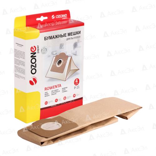 P-11 Мешки-пылесборники Ozone бумажные для пылесоса, 4 шт
