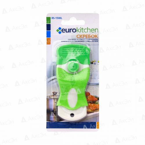 RS-15WL Скребок Eurokitchen для чистки стеклокерамики, белый/салатовый