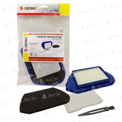 Набор фильтров для пылесоса ROWENTA, НЕРА фильтр-1 шт., микрофильтр-2 шт., щетка для чистки-1 шт., многоразовый моющийся, бренд: OZONE, арт. H-51W, тип оригинального фильтра: ZR005401