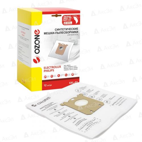 XXL-02 Мешки-пылесборники Ozone синтетические для пылесоса, 12 шт + 2 микрофильтра