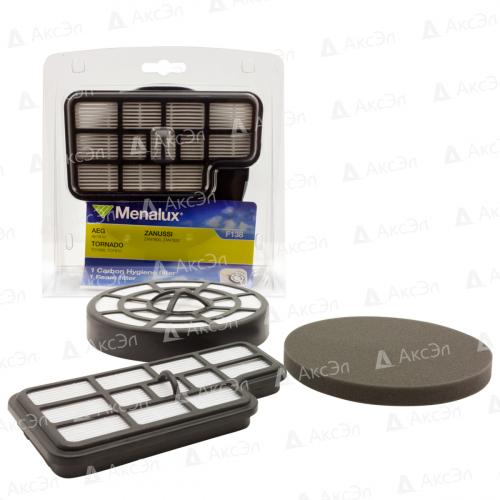 Набор фильтров для пылесоса AEG, ZANUSSI, TORNADO, 2 шт., HEPA фильтр с активированным углём-многоразовый моющийся и поролоновый фильтр для мотора, бренд: MENALUX, арт. F138