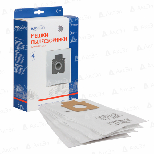 E-14/4 Мешки-пылесборники Euroclean синтетические для пылесоса, 4 шт