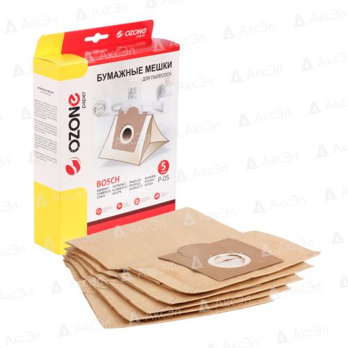 P-05 Мешки-пылесборники Ozone бумажные для пылесоса, 5 шт