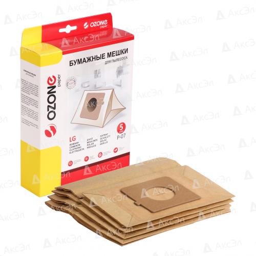 P-07 Мешки-пылесборники Ozone бумажные для пылесоса, 5 шт