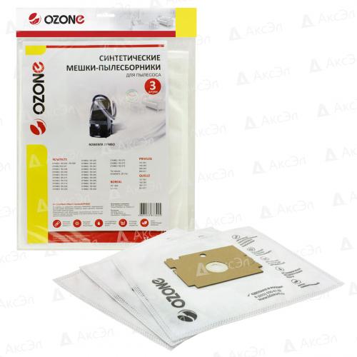 SE-12 Мешки-пылесборники Ozone синтетические для пылесоса, 3 шт