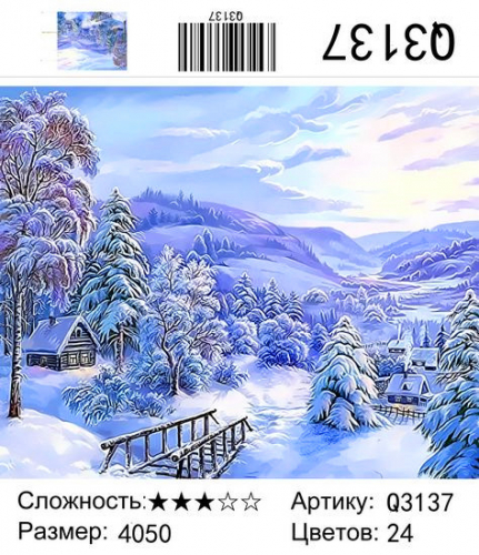 Q3137 Зима 2020-2021 Картины-раскраски 40х50