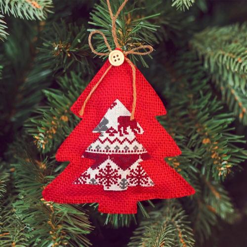 Новогодняя ёлочная игрушка, Набор для создания подвески из ткани