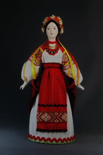 Кукла сувенирная фарфоровая. Девичий праздничный костюм. К.19 -н. 20 в. Украина