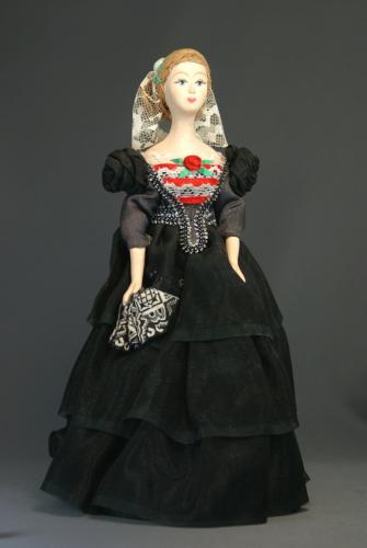 Кукла сувенирная фарфоровая. Девушка в вечернем платье. Сер.19 в. Петербург