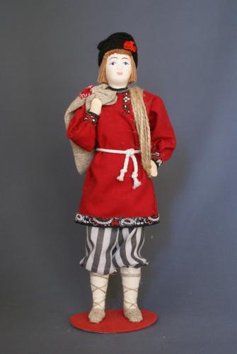 Кукла сувенирная фарфоровая. Балда. Сказочный персонаж.