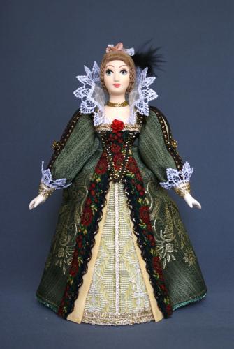 Кукла сувенирная фарфоровая. Дама в придворном платье. Нач.17 в. Франция