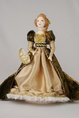 Кукла сувенирная фарфоровая. Дама в светском костюме. 19 в. 60-е г. Европа.