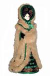 Кукла сувенирная фарфоровая. Дама в зимнем костюме. 19 в. Россия. Европейская мода.