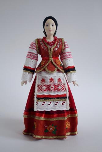 Кукла сувенирная фарфоровая. Казачка. Сценический костюм.