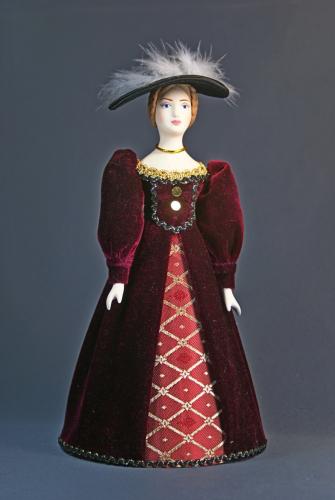 Кукла сувенирная фарфоровая. Дама в прогулочном костюме. Сер.19 в. Европа.
