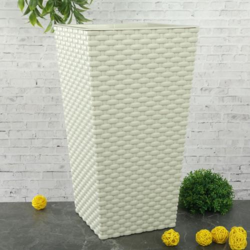 Кашпо со вставкой «Ротанг», вставка 4,9 л, цвет белый