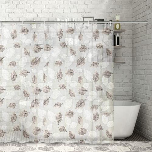 Штора для ванной «Чёрно-белые листья», 180×180 см, EVA