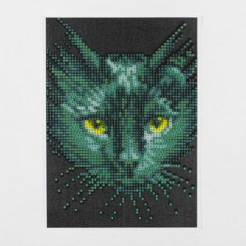 Алмазная вышивка с частичным заполнением «Чёрный кот», 15 х 21 см, холст. Набор для творчества