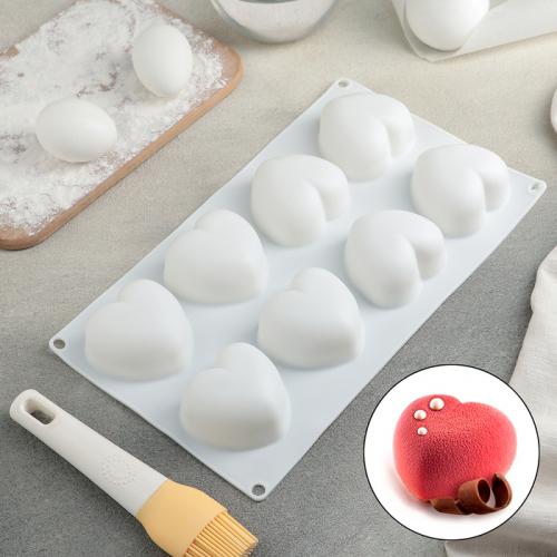 Форма для муссовых десертов и выпечки «Сердца», 30×17,5 см, 8 ячеек (6,5×6,5×4 см), цвет белый