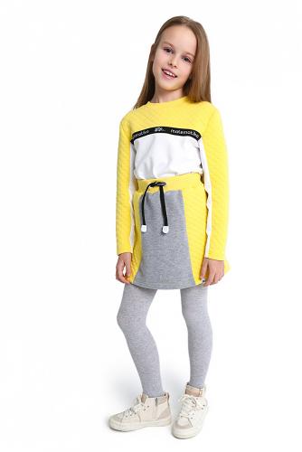 Платье #255488Лимон, белый, серый меланж