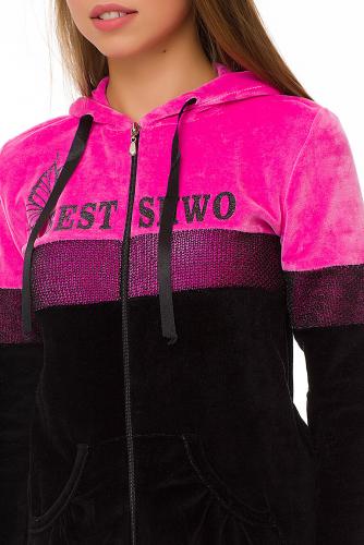 Комплект (толстовка+брюки) #67916Черный/розовый