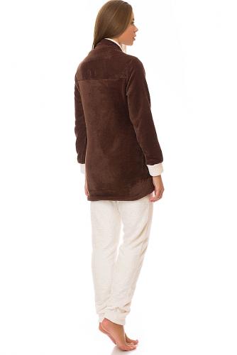 Комплект (толстовка+брюки) #67920Коричневый/кремовый