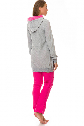Комплект (толстовка+брюки) #67915Розовый/серый