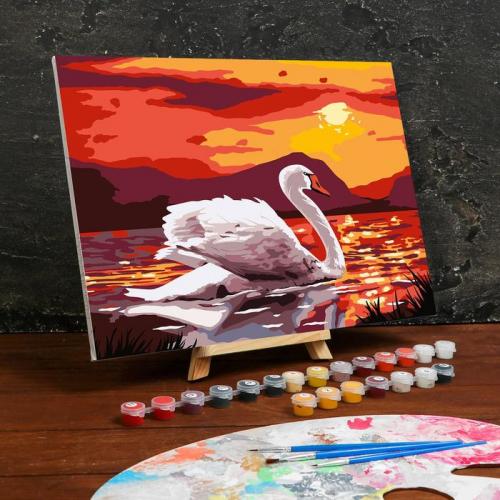 Картина по номерам на холсте с подрамником «Лебедь на озере» 30×40 см