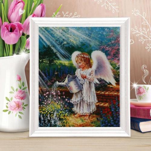 Роспись по холсту «Ангел с лейкой» по номерам с красками по 3 мл+ кисти+крепеж, 30×40 см