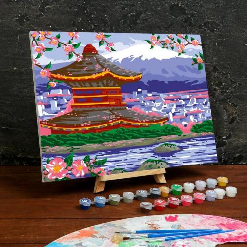 Картина по номерам на холсте с подрамником «Пагода» 30×40 см