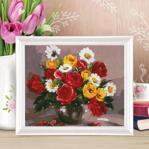 Роспись по холсту «Цветочный букет» по номерам с красками по 3 мл+ кисти+крепеж, 30×40 см