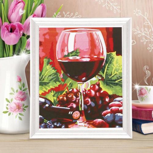 Роспись по холсту «Бокал вина» по номерам с красками по 3 мл+ кисти+крепеж, 30×40 см