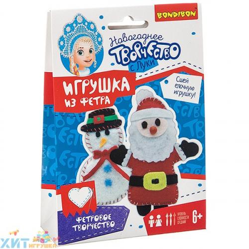 Набор для творчества Шить просто! Ёлочные игрушки из фетра своими руками Снеговичок, Дед Мороз ВВ3090, ВВ3090