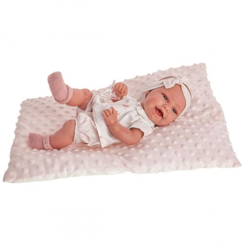 6028 кукла-младенец Глория на розовой подушке, 33 см