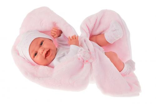 6026P кукла-младенец Фатима на розовом одеяльце, 33 см