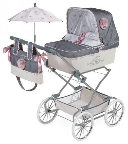 82031 Коляска с сумкой и зонтиком Реборн, 90см