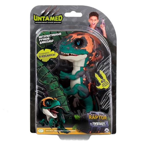 3783 Интерактивный динозавр Фури,темно-зеленый с бежевым 12 см