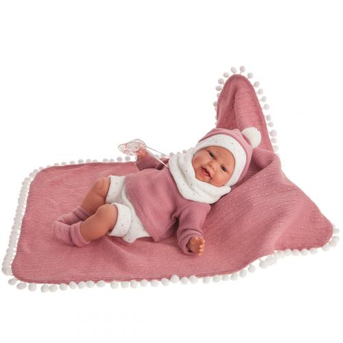7048 Кукла Леонора в темно-розовом, озвученная (детский лепет), 34 см