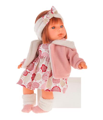 1561P Кукла Валентина в розовом озвученная (мама, папа, смех), 37 см