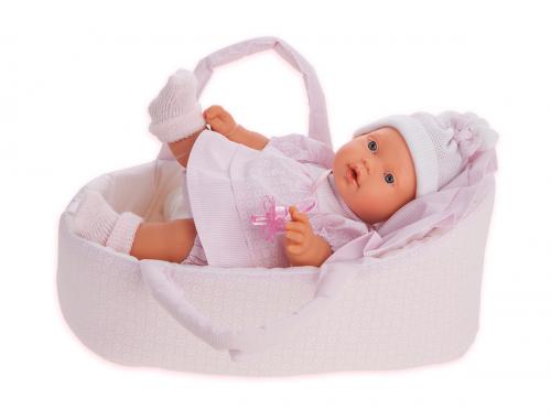 1114P Кукла Лана в корзине, плач., 27см