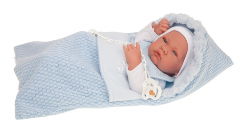 5015B кукла-младенец Нестор в голуб, 42 см