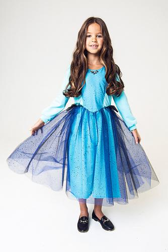 Платье #256382Голубой/черный фатин с васильковыми блестками