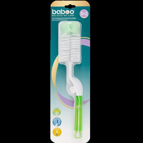 4-302 Щётка для мытья бутылочек и сосок  (3 в 1) BABOO