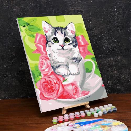 Картина по номерам на холсте с подрамником «Котенок в чашке» 40×50 см