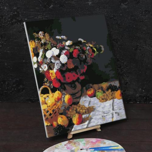 Картина по номерам на холсте с подрамником «Цветы и фрукты» Клод Моне 40х50 см