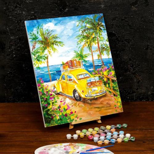 Картина по номерам на холсте с подрамником «Машина на пляже» 40×50 см