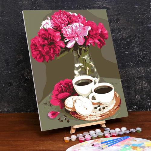 Картина по номерам на холсте с подрамником «Кофейный натюрморт» 40×50 см