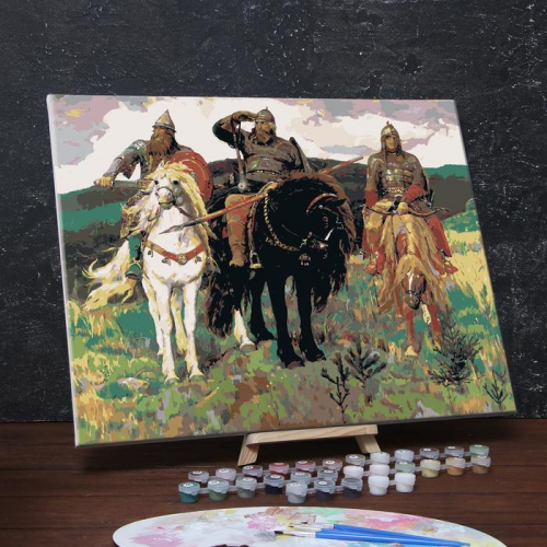 Картина по номерам на холсте с подрамником «Богатыри» Виктор Васнецов 40х50 см