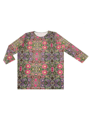 Апрель Лонгсливсиреневые цветы на джинсе